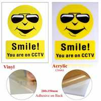 Vinyl/Acrylic Smile you're on CCTV Warning camera stickers signs decal 200x150mm