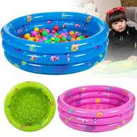 80CM 3 Ring Inflatable Round Swimming Pool Toddler Children Kids Outdoor Play Balls