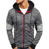 Men Zipper Color Block Hooded Sweatshirt