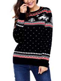 Christmas Women Printed O-Neck Sweater