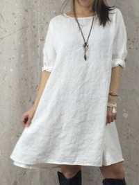 Women Casual Cotton Linen Pure Color 3/4 Sleeve Dress