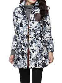 Folk Style Women Lapel Long Sleeve Button Floral Printed Cotton-Padded Coat