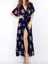 Floral Print V-neck Chiffon Long Split Sexy Dress