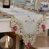 Table Runner Flower Desk Cover With Tassel Wedding Birthday Party Decor