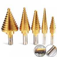 Drillpro DB-S4 HSS Titanium Pagoda Drill/Ladder Drill 1/4&3/8&1/2 Inch Round Shank Step Drill Bit