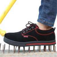 Men's Work Shoes Steel Toe Non-Slip Wearable Outdoor Running Sneakers Protective Gear
