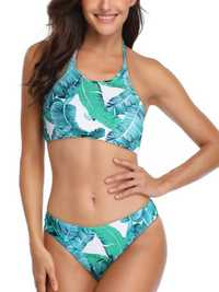 Split Halter Top Green Leaf Print Bikini Swimsuit