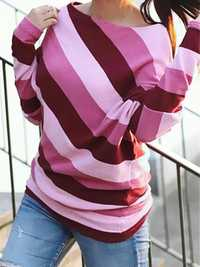 Women Casual Crew Neck Stripe Long Sleeve Tops Blouse