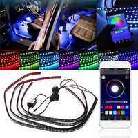 4pcs APP Voice Wireless Control LED Interior Car Decoration Neon Strip Light