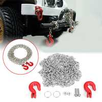 Metal Trailer Hook With Chain Spare Part For WPL B1 B16 B24 C14 Military Truck RC Car Parts