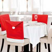 Christmas Festival Chair Cover Dining Non-woven Fabric Red Hat with Ball Back Chair Cover for Kitchen Decorative New Year Dinner Table Party Christmas Decoration