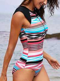Zipper Front Cover Belly Thin Striped Swimwear
