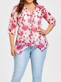Floral Printed See Through Turn-down Collar Half Sleeve Blouse