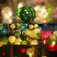 Battery Powered 1.8M 10LEDs Rattan Ball Fairy String Lights for Christmas Garden Party