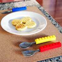 3PCS Creative Building Blocks Dinnerware Portable Block Fork Spoon Flatware Tableware