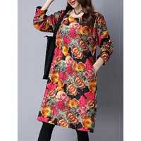 Vintage Floral Printing Long Sleeve Thick Velvet Loose Women Dress