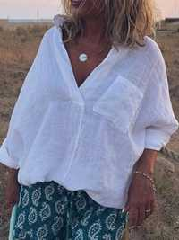 Women Cotton Linen Solid Color V-Neck Pleated Blouse