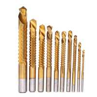 Drillpro 10pcs 3-13mm HSS Titanium Coated Twist Drill Bit Set Wood Metal Cutting Groove Drill Bit