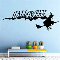 Happy Halloween Witch DIY Wall Sticker Removable PVC Wallpapers Vinyl Art Decal Decor Waterproof Stickers Household Home Wall Sticker Poster Mural Decoration for Bedroom Living Room
