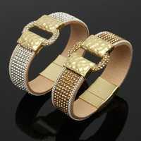 Sparkling Full Rhinestone Wide Belt Buckle Magnetic Leather Bracelets