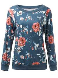 Casual Women Blue Floral Printed Long Sleeve Pullover Sweatshirt