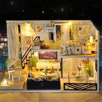 T-Yu DIY Doll House Time Light Shadow Hand-assembled Model House Birthday Gift