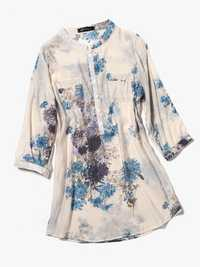 Women Cotton Linen Floral Loose 3/4 Sleeve Shirts
