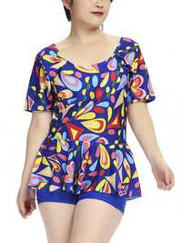2XL-6XL Multi-pattern Flower Printed Short Sleeves Tankinis
