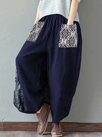 O-NEWE Vintage Women Printed Pockets Pants
