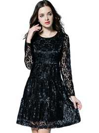 Elegant Women Lace Hollow Pleated Mini A-line Party Dress