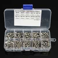 340Pcs M3 304 Stainless Steel Cross-head Set Screw Bolts & Hex Nuts Assortment Kit