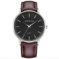 CRRJU 2117 Fashion Men Quartz Watch Casual Man PU Leather Strap Wristwatch