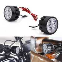 Pair 10V-85V DC 12W LED Light Motorcycle Scooter Bicycle Rear View Mirror Lamp Handlebar