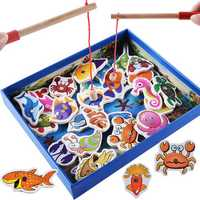 32Pcs Kids Wooden Magnetic Toys Fishing Game Set Fish Toys Early Educational Learning