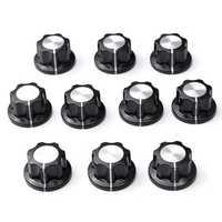 10Pcs Nonslip Potentiometer Rotary Control Knobs 6mm Hole 12mm Top Black Silver Tone Shift Knob