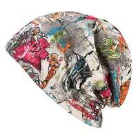 Women Graffiti Cotton Beanies Cap Casual Warm Skullies Bonnet Hat