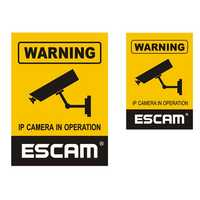 2Pcs/Lot ESCAM 12x18cm 10x14.5cm Monitoring Security Camera CCTV Waterproof Warning Sign Sticker