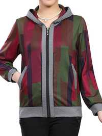 Women Pattern Printing Zipper Hooded Casual Jacket