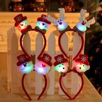 Christmas Santa Reindeer Snowman Bear LED Light Headband Hair Band Lightening Double Head Decoration