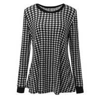 Retro Loose Women Houndstooth Printed Long Sleeve Pullover Blouse