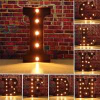 Vintage Metal LED Light DIY Letter A to M Sign Carnival Wall Marquee Decoration
