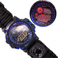 7 In 1 Survival Watch Camping Multifunctional Compass Date Alarm Paracord Bracelet LED Backlight Gadget EDC Tool