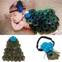 Fashion Baby Kids Handmade Outfits Photographed Props Peacock Feathers Cloak Hairband Peacock Costume Suit