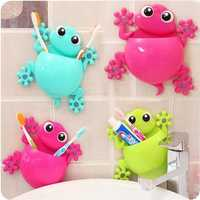 Honana Lovely Cartoon Gecko Model Toothbrush Toiletries Toothpaste Holder Bathroom Sets 4 Suction Hooks Tooth Brush Container