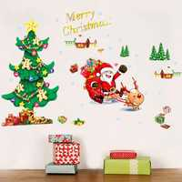 Merry Christmas Santa Claus Tree Wall Sticker Removerable DIY Window Door Wall Home Decor
