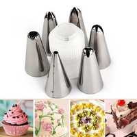 Honana CF-PN2 6pcs Stainless Steel Icing Piping Nozzles Cake Cream Decorating Tool With Convertor