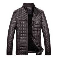 Autumn Winter Fashion Men's PU Leather Jacket Plush Thick Warm Jacket Casual Stand Collar Coat