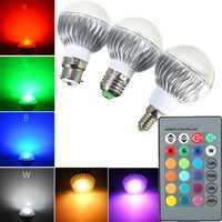 B22/E27/E14 5W RGB Remote Controlled Colour Changing LED Light Bulb AC 85-265V