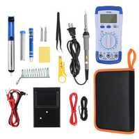 20Pcs 60W Electronic Solder Iron Kit Welding Tools Set Screwdriver Tweezer + Digital Multimeter