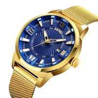 SKMEI 9166 Gold Case Business Style Full Steel Men Watch